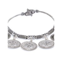 Ajdustable Oxidized Silver Bracelet With Coin Charms