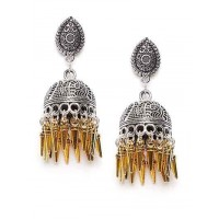 Mor Motifs Embellished Oxidized Silver Short Jhumki Earrings With Golden Hangings