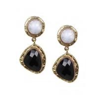 Combo of Black Druzy Hoop and Black Onyx Dangler Earrings
