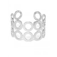 Silver Cuff Bracelet with Circular Pattern