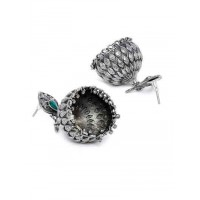 Classic Peacock Vintage Styled Tribal Jewellery Silver Plated Jhumkis with Emerald Colored Stone
