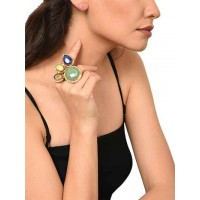 Emerald Smoky Lapiz Trio Throne Handmade Jewellery Ring