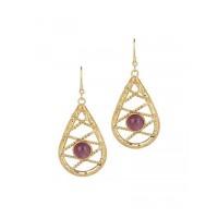 Combo of Pearl Brass Earrings and Amethyst Brass Earrings