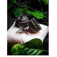 Classic Peacock Brass Jhumka Earrings For Women