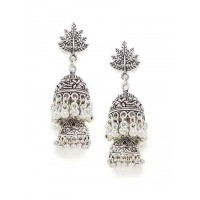 Oxidized Silver Leaf Jhumka Earrings