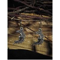 Oxidized Silver Short Crescent Earrings