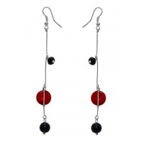 Red and Black Onyx Hanging Handmade Jewellery Earrings