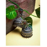 Classic Peacock Vintage Styled Tribal Jewellery Silver Plated Jhumkis with Garnet Colored Stone