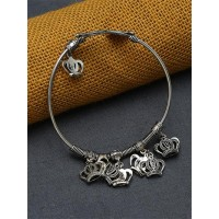 Adjustable Oxidized Silver Bracelet with Crown Charms