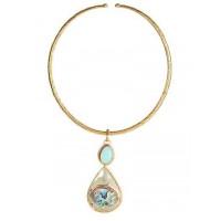 Pearl Drop Brass Choker Fashion Necklace