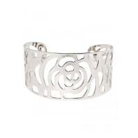 Floral Patterned Silver Cuff Bracelet