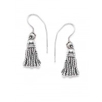 Oxidized Silver Broom Earrings