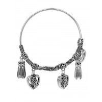 Adjustable Oxidized Silver Bracelet with Floral Charms