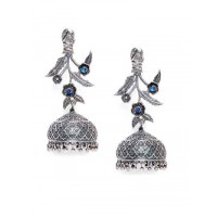 Floral Tribal Jewellery Silver Plated Jhumkis with Blue Stone