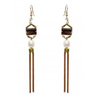 Hanging Pearl Drop Tassel Party Wear Earrings