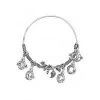 Adjustable Oxidized Silver Bracelet with Crescent Charms