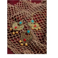 Blue and Red Stone Studded Golden Earrings and Maang Tika Jewellery set for Wedding