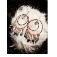 Multicolored Hanging Beads and Chains Western Earrings with Beaded Bali