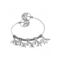 Adjustable Oxidized Silver Bracelet with a set of Leaves Charms