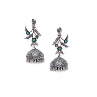 Floral Tribal Jewellery Silver Plated Jhumkis with Emerald Colored Stone