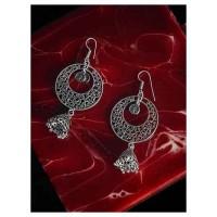 Designer Oxidized Silver Long Jhumka Earrings