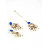 Blue Stone Embellished and White Stone Studded Earrings and Maang Tika Jewellery Set for Wedding