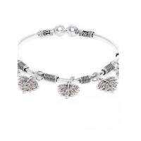 Oxidized Leaf Charm Bracelet