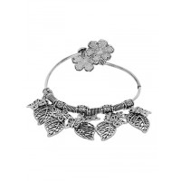 Adjustable Oxidized Silver Bracelet with Butterfly and Leaves Charms