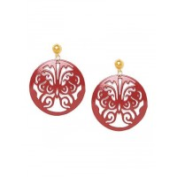 Combo of Red Metal Earrings and Golden Mesh Earrings