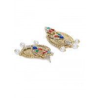 Multicolored and White Stone Studded Chandbali Earrings and Maang Tika Jewellery Set for Wedding