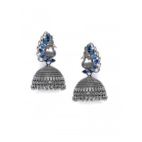 Peacock and Blue Stones Embellished Tribal Jewellery Silver Plated Jhumkis