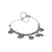 Adjustable Oxidized Silver Bracelet with Flower Charms