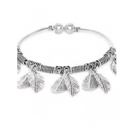 Oxidized Silver Charm Bracelet With Designer Leaves