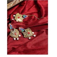 Ethnic Multicolored Stones Embellished and Hanging White Pearls Golden Earrings and Maang Tika Jewellery Set for Wedding