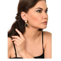 Moonstone Black Brass Party Wear Earrings