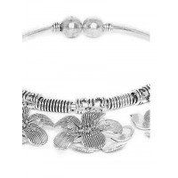 Adjustable Oxidized Silver Bracelet With Chunky Flowers Charms