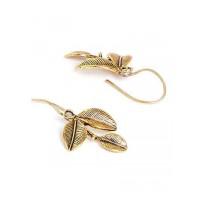 Short Golden Leaf Earrings For Women