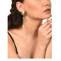 Pearl and Brass Party Wear Earrings