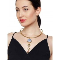 Gorgeous Glimpse Blue Lace Agate and Rose Quartz Fashion Trendy Choker Fashion Necklace