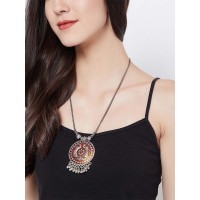 Beautiful Orange Peacock Motifs Oxidized Tribal Jewellery Statement Necklace