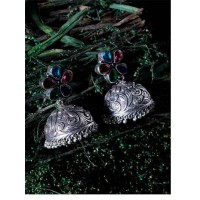 Multicolored Brass Based Oxidized Silver Earrings With Floral Embellishments