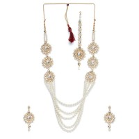 Graceful White Pearls Queen's Necklace Jewellery Set for Wedding
