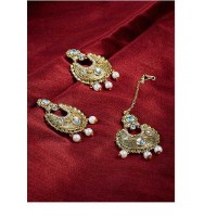 Elegant Kundan motif with Hanging Pearl Chandbali Earrings and Maang Tika Jewellery Set for Wedding