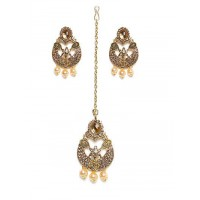 Delicate Stone Studded with Hanging Pearls Golden Earrings and Maang Tika Jewellery Set for Wedding