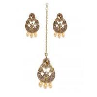 Golden Maang Tika Set With Golden Pearls