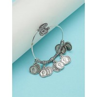 Adjustable Oxidized Silver Bracelet with Classic Coin Charms