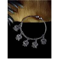 Love Birds Oxidized Silver Charm Bracelet