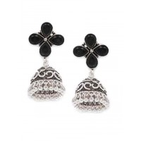 Brass Based Oxidized Silver Jhumkis Embellished With Four Black Stones
