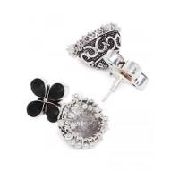 Silver Plated Black Gemstones Studded Brass Jhumkas
