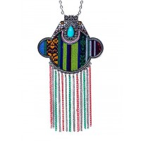 Teal Drop Multicolored Tassel Fashion Necklace